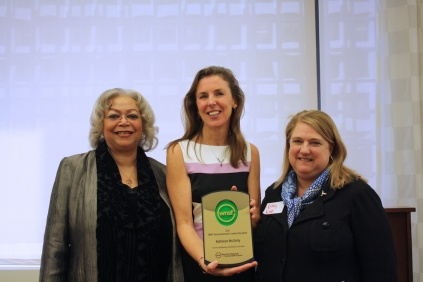 Summit Chair Dianne DIllon-Ridgley and Board Chair Kathy Robb present WNSF Leadership Award to Katie McGinty of Weston Solutions