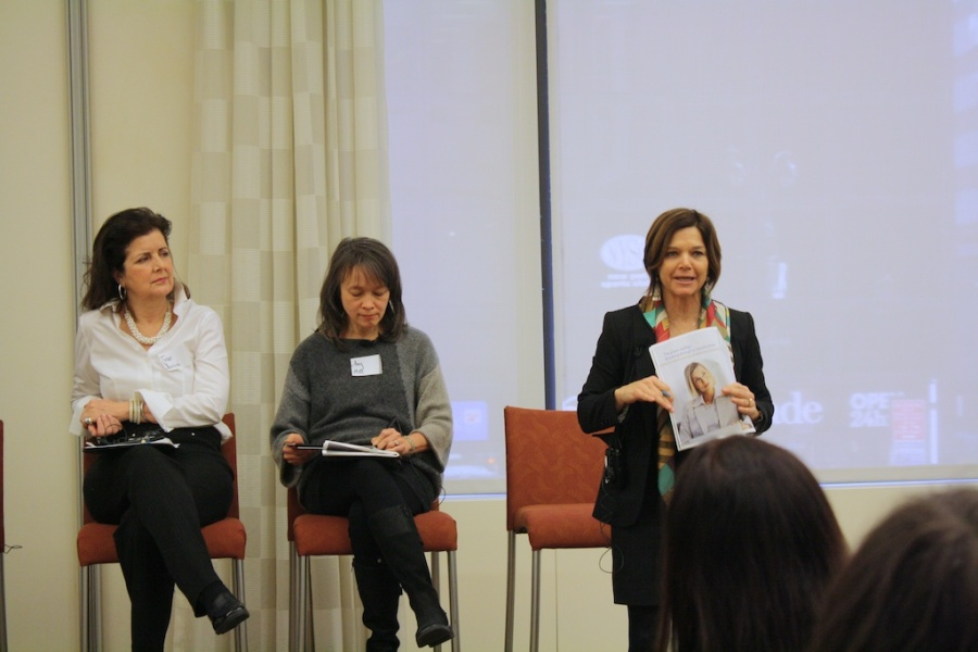 Sustainable Consumption initiatives with panelists: Celine Solsken Ruben-Salama of American Express, Irene Narissi McLaughlin of SAME SKY, Amy Hall of Eileen Fisher, and Chantal Line Carpentier of the United Nations.